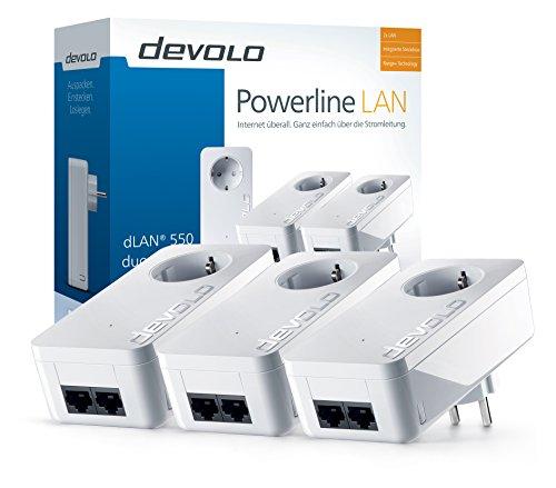 devolo dLAN 550 duo+ Network Kit Powerlan Adapter (500 Mbit/s, 3 Adapter im Set, 2x LAN Port, Kompaktgehäuse, Netzwerk, Powerline, einfaches LAN Netzwerk aus der Steckdose) weiß - 2
